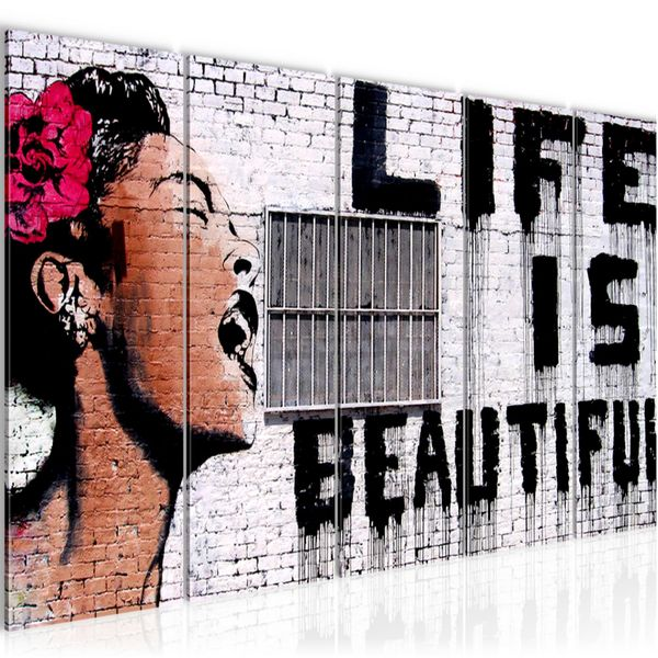 Life is Beautiful Banksy Street Art BILD KUNSTDRUCK  - AUF VLIES LEINWAND - XXL DEKORATION  301355P