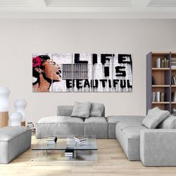 Life is Beautiful Banksy Street Art BILD KUNSTDRUCK  - AUF VLIES LEINWAND - XXL DEKORATION  301355P  Bild 5