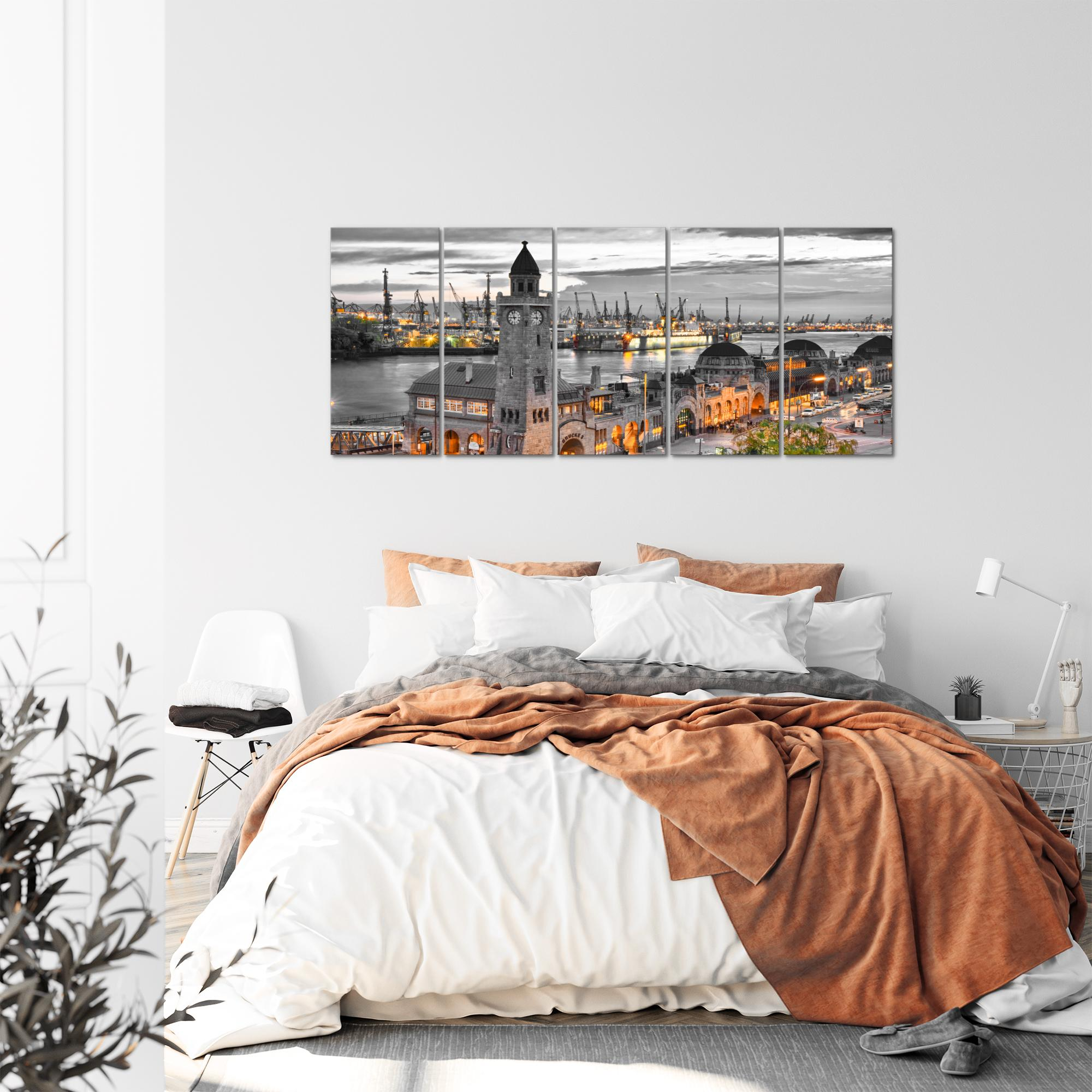 stadt hamburg bild kunstdruck auf vlies leinwand xxl dekoration 603055p. Black Bedroom Furniture Sets. Home Design Ideas