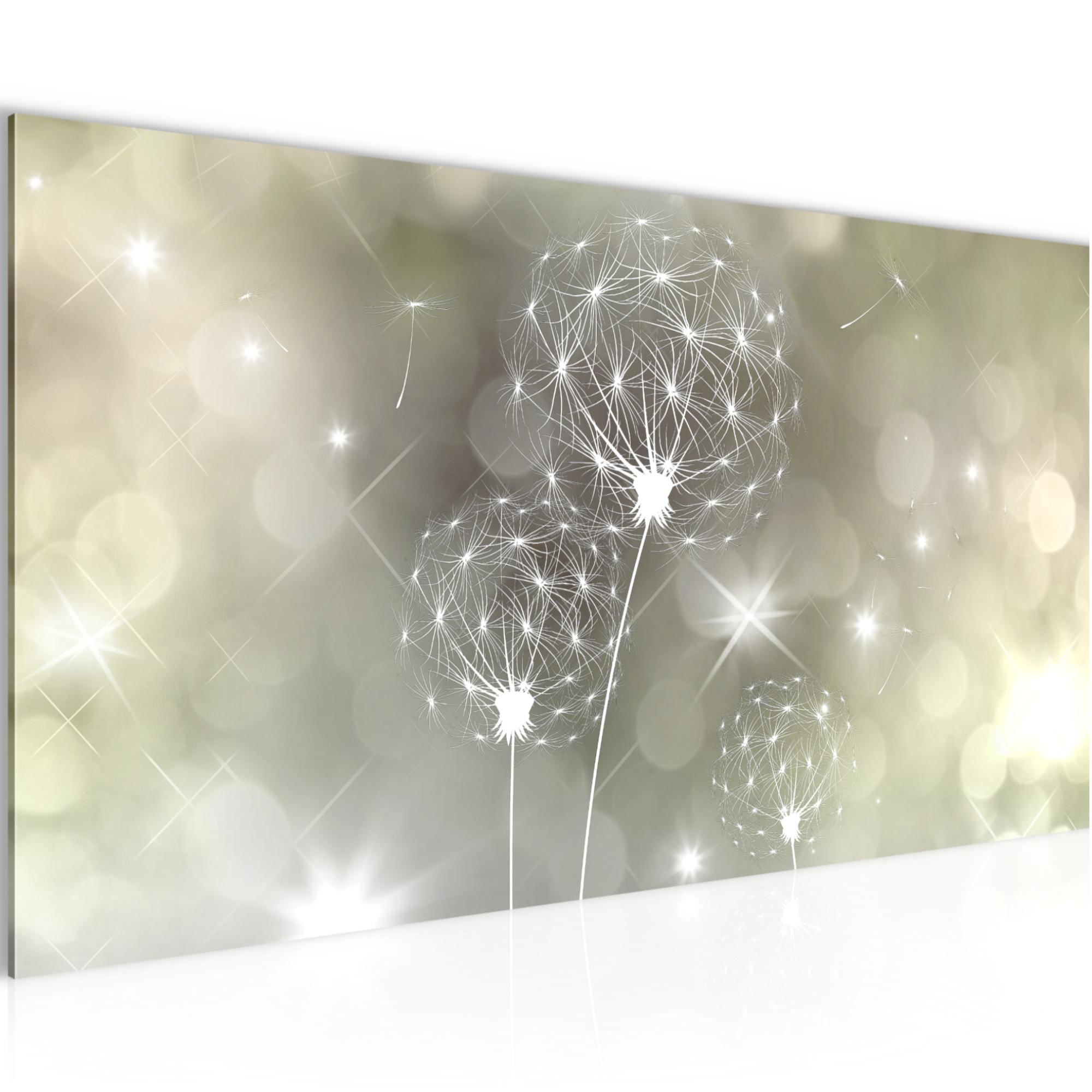 Bild Bilder Wandbild XXL Kunstdruck Leinwand aus Vlies 100x40 cm Pusteblume