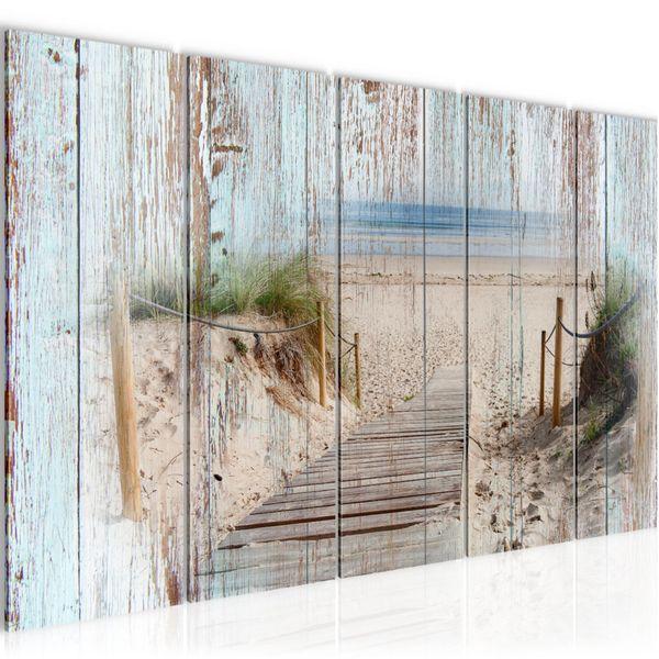 Strand Holz Bretter BILD KUNSTDRUCK  - AUF VLIES LEINWAND - XXL DEKORATION  606155P