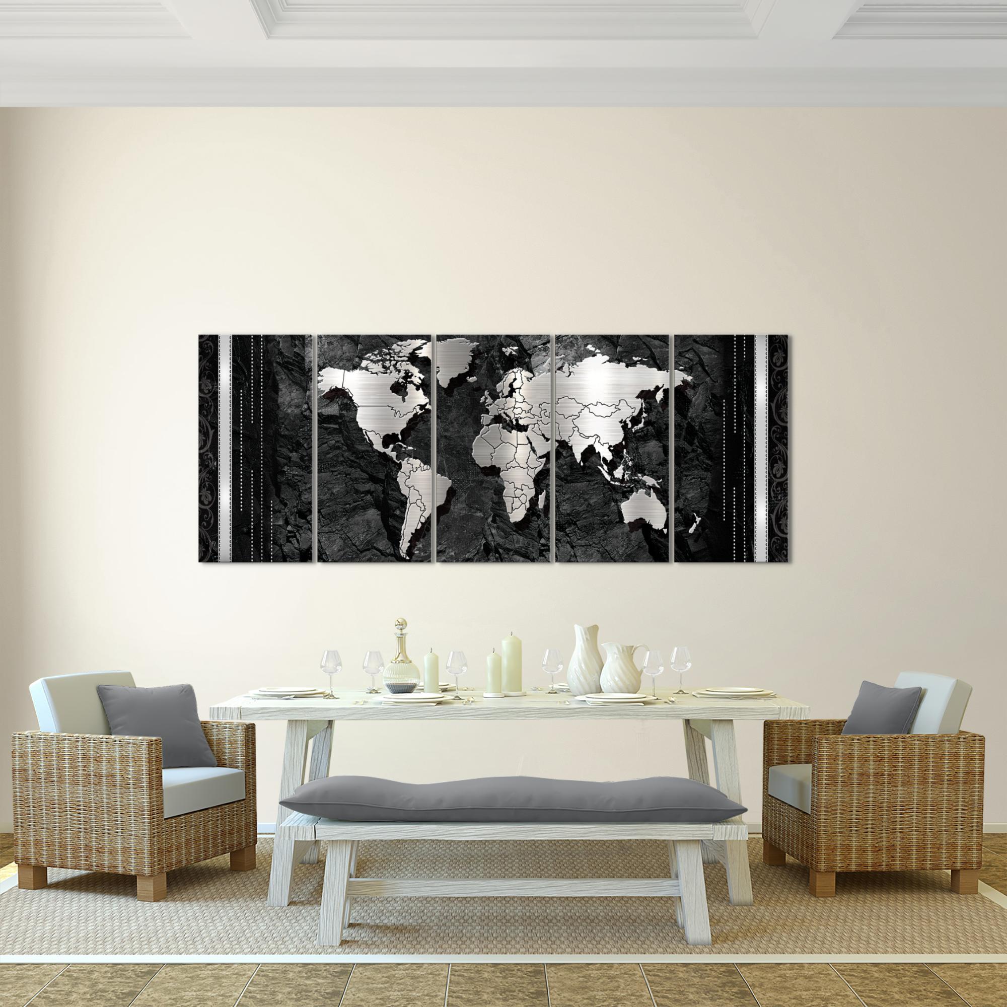 Weltkarte World Map BILD KUNSTDRUCK   AUF VLIES LEINWAND   XXL DEKORATION  Schwarz 107355P Bild 3
