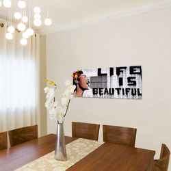 Life is Beautiful Banksy Street Art BILD KUNSTDRUCK  - AUF VLIES LEINWAND - XXL DEKORATION  301312P  Bild 4