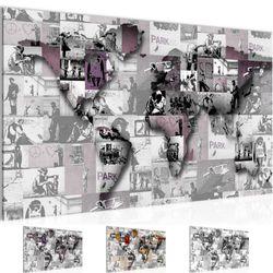 Weltkarte Banksy Collage BILD KUNSTDRUCK  - AUF VLIES LEINWAND - XXL DEKORATION  10451P  Bild 1