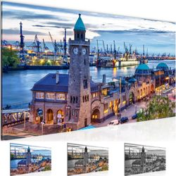 Stadt Hamburg BILD KUNSTDRUCK  - AUF VLIES LEINWAND - XXL DEKORATION  603012P  Bild 1