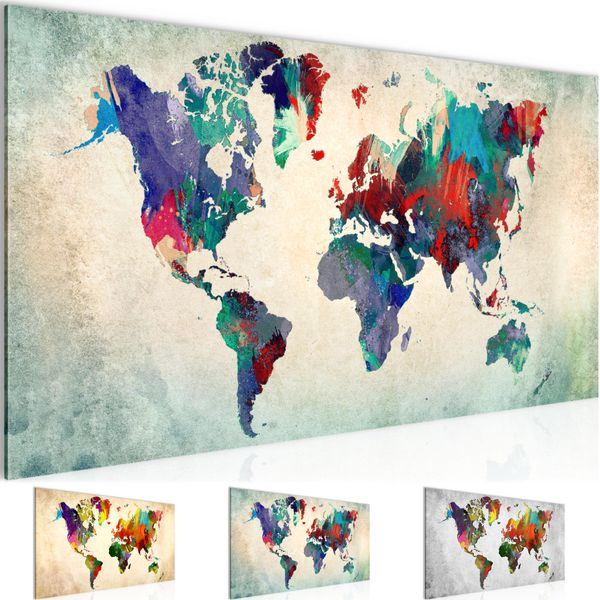 Weltkarte World map BILD KUNSTDRUCK  - AUF VLIES LEINWAND - XXL DEKORATION  105112P