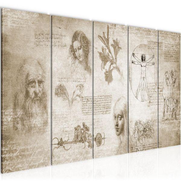 Werke von Leonardo Da Vinci BILD KUNSTDRUCK  - AUF VLIES LEINWAND - XXL DEKORATION  700455P