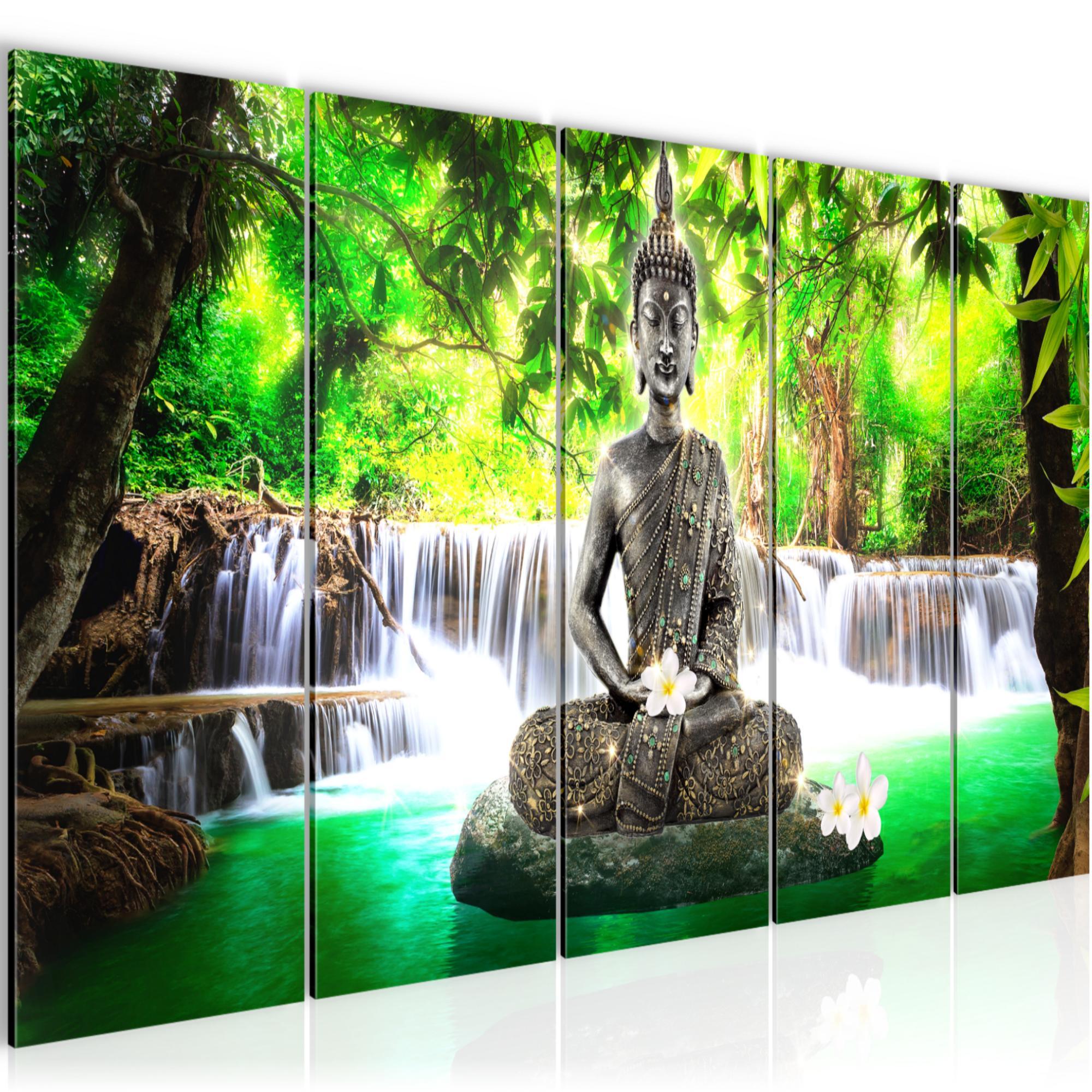 buddha wasserfall bild kunstdruck auf vlies leinwand xxl dekoration 503555p. Black Bedroom Furniture Sets. Home Design Ideas