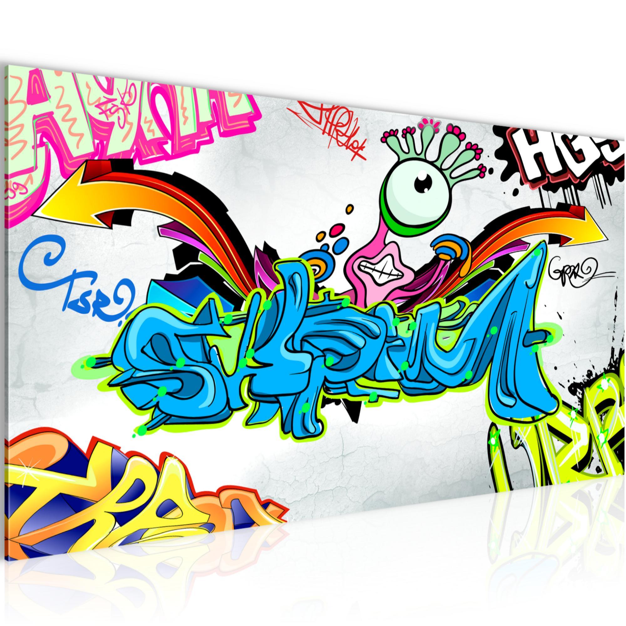 f808f3a0b0 Graffiti Street Art BILD KUNSTDRUCK - AUF VLIES LEINWAND - XXL DEKORATION  401612P Bild 1