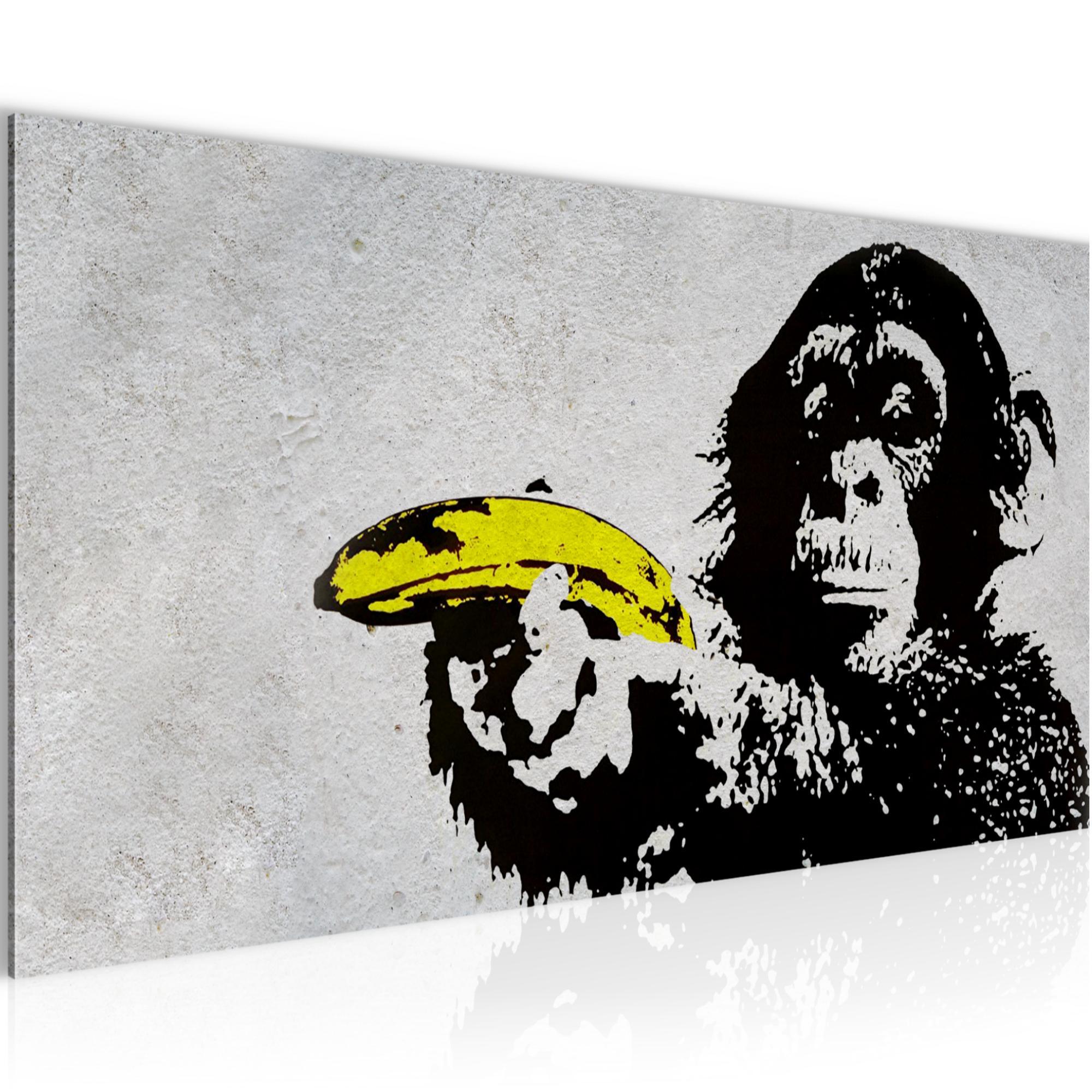 d9607066af Affe mit Banane Banksy Street Art BILD KUNSTDRUCK - AUF VLIES LEINWAND - XXL  DEKORATION 302812P