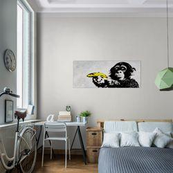 Affe mit Banane Banksy Street Art BILD KUNSTDRUCK  - AUF VLIES LEINWAND - XXL DEKORATION  302812P  Bild 7