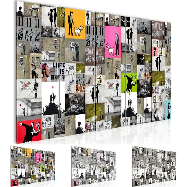 Collage Banksy Street Art BILD KUNSTDRUCK  - AUF VLIES LEINWAND - XXL DEKORATION  302755P