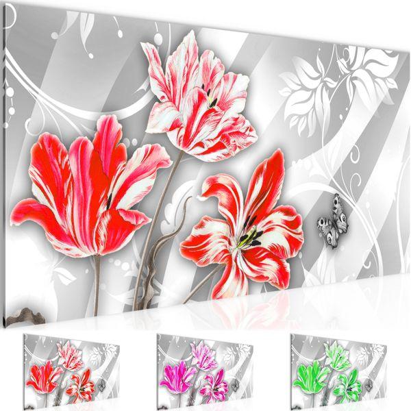 Blumen Tulpen BILD KUNSTDRUCK  - AUF VLIES LEINWAND - XXL DEKORATION  209312P