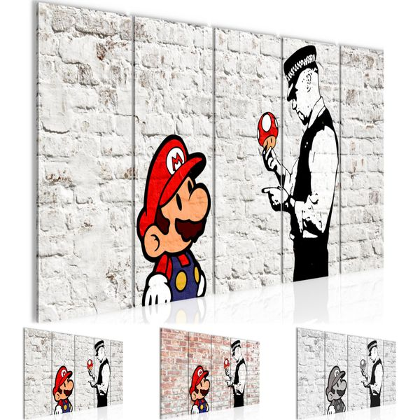 Mario and Cop by Banksy Streetart BILD KUNSTDRUCK  - AUF VLIES LEINWAND - XXL DEKORATION  006555P