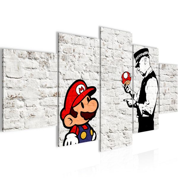 Mario and Cop by Banksy Streetart BILD KUNSTDRUCK  - AUF VLIES LEINWAND - XXL DEKORATION  00655P