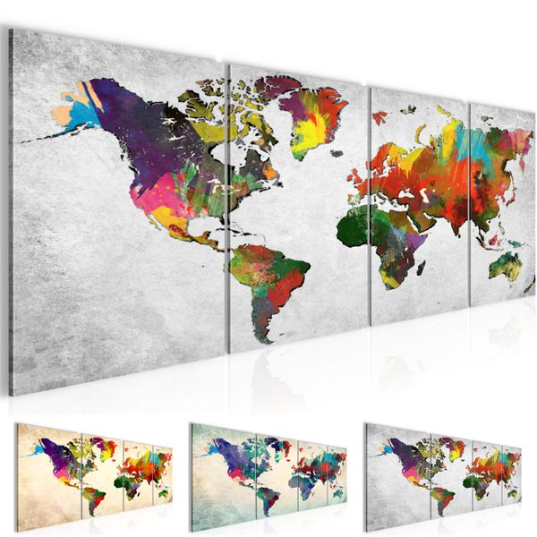 Weltkarte World map BILD KUNSTDRUCK  - AUF VLIES LEINWAND - XXL DEKORATION  105146P