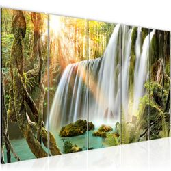 Wasserfall Landschaft BILD KUNSTDRUCK  - AUF VLIES LEINWAND - XXL DEKORATION  012655P  Bild 1