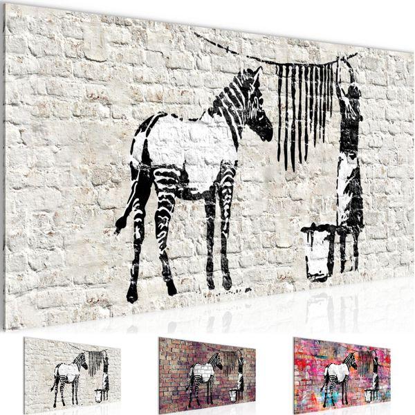 Banksy Washing Zebra BILD KUNSTDRUCK  - AUF VLIES LEINWAND - XXL DEKORATION  012912P