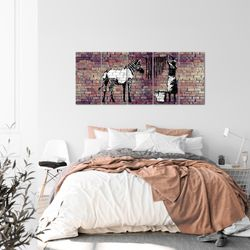 Banksy Washing Zebra BILD KUNSTDRUCK  - AUF VLIES LEINWAND - XXL DEKORATION  012955P  Bild 3