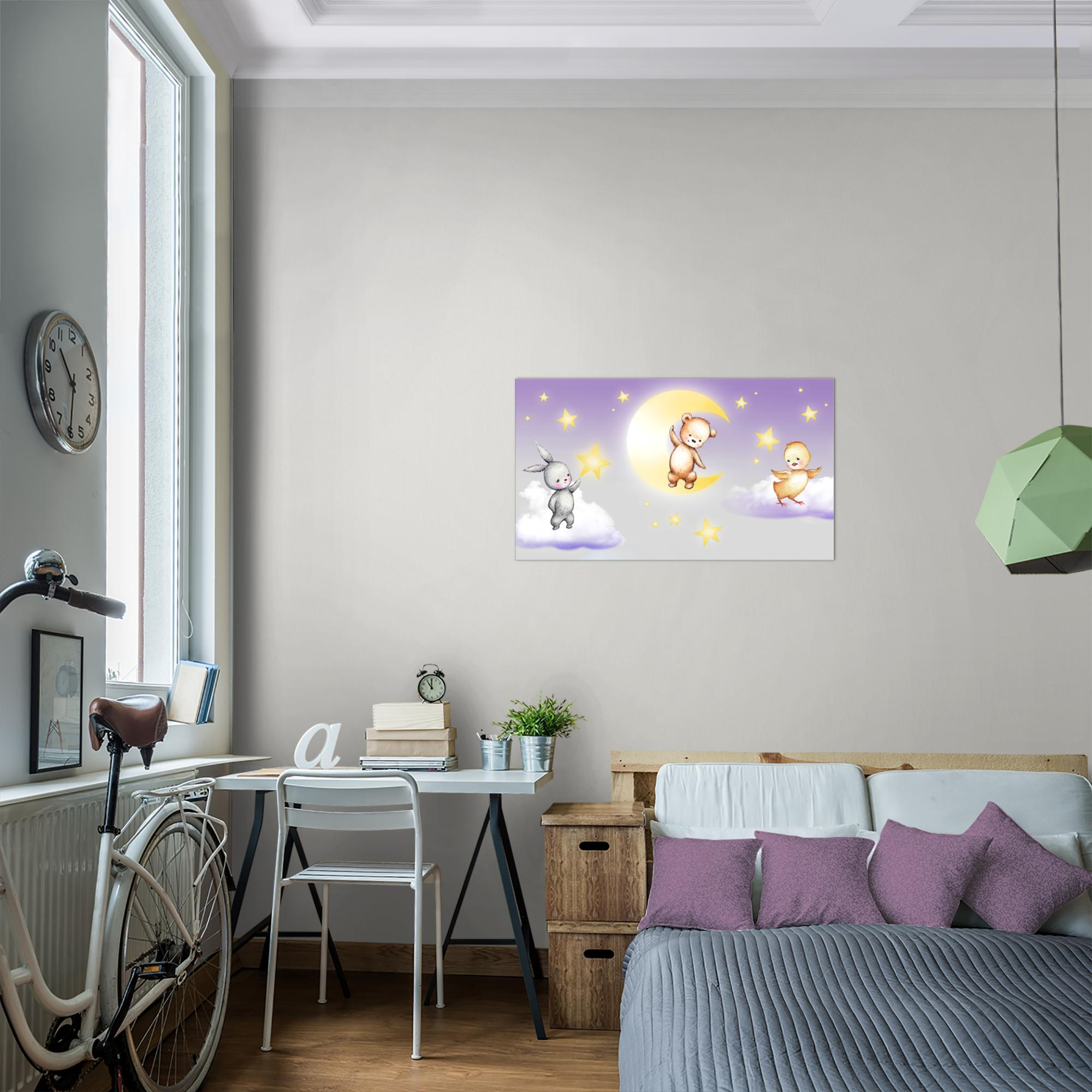 kinderzimmer tiere bild kunstdruck auf vlies leinwand xxl dekoration 017714p. Black Bedroom Furniture Sets. Home Design Ideas