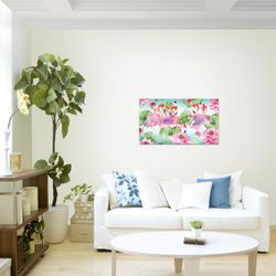 Flamingo Blumen BILD KUNSTDRUCK  - AUF VLIES LEINWAND - XXL DEKORATION  01761P  Bild 3