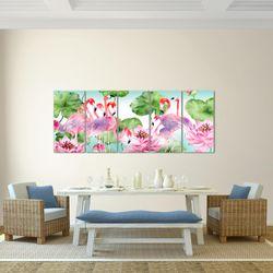 Flamingo Blumen BILD KUNSTDRUCK  - AUF VLIES LEINWAND - XXL DEKORATION  017655P  Bild 3