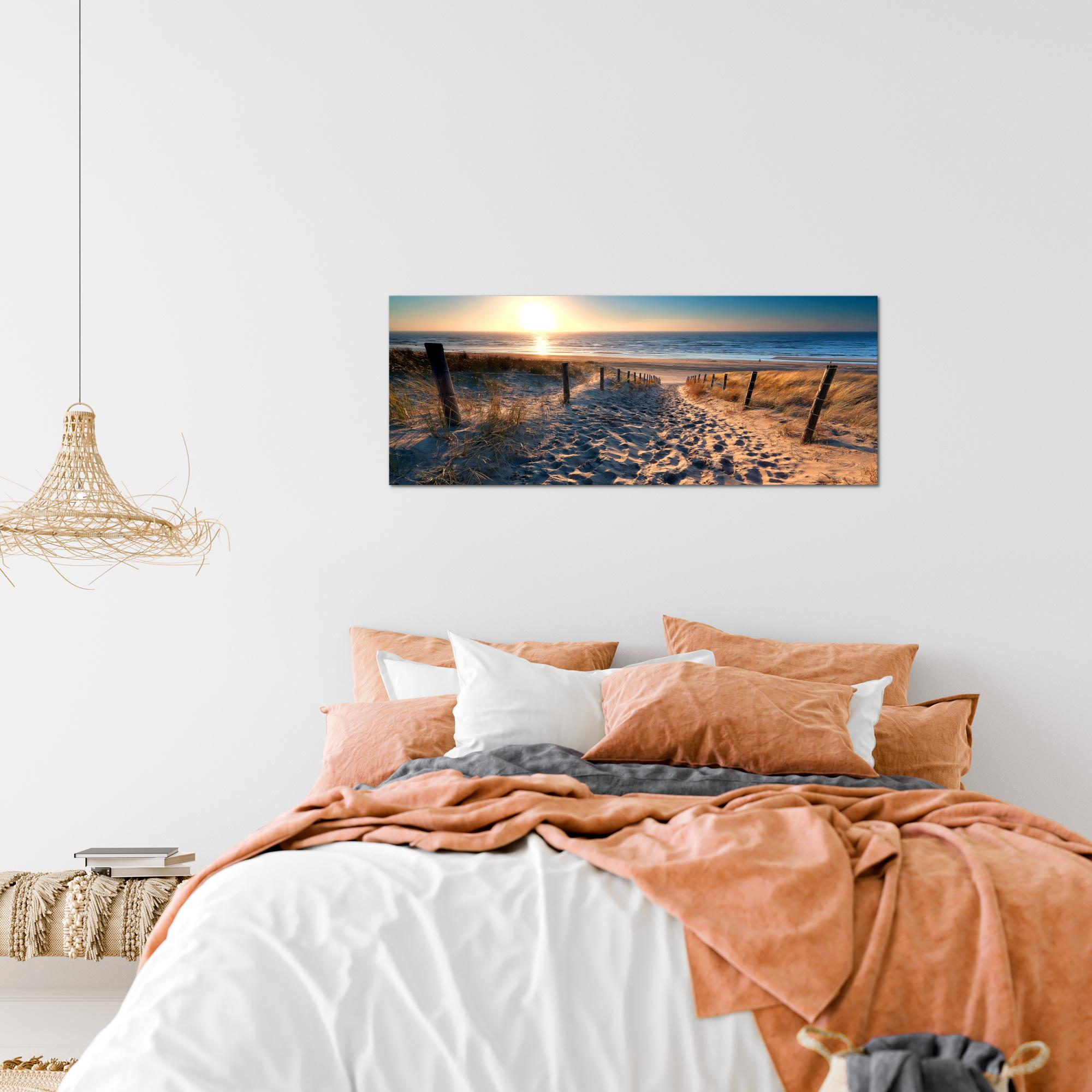strand sonnenuntergang bild kunstdruck auf vlies leinwand xxl dekoration 018412p. Black Bedroom Furniture Sets. Home Design Ideas
