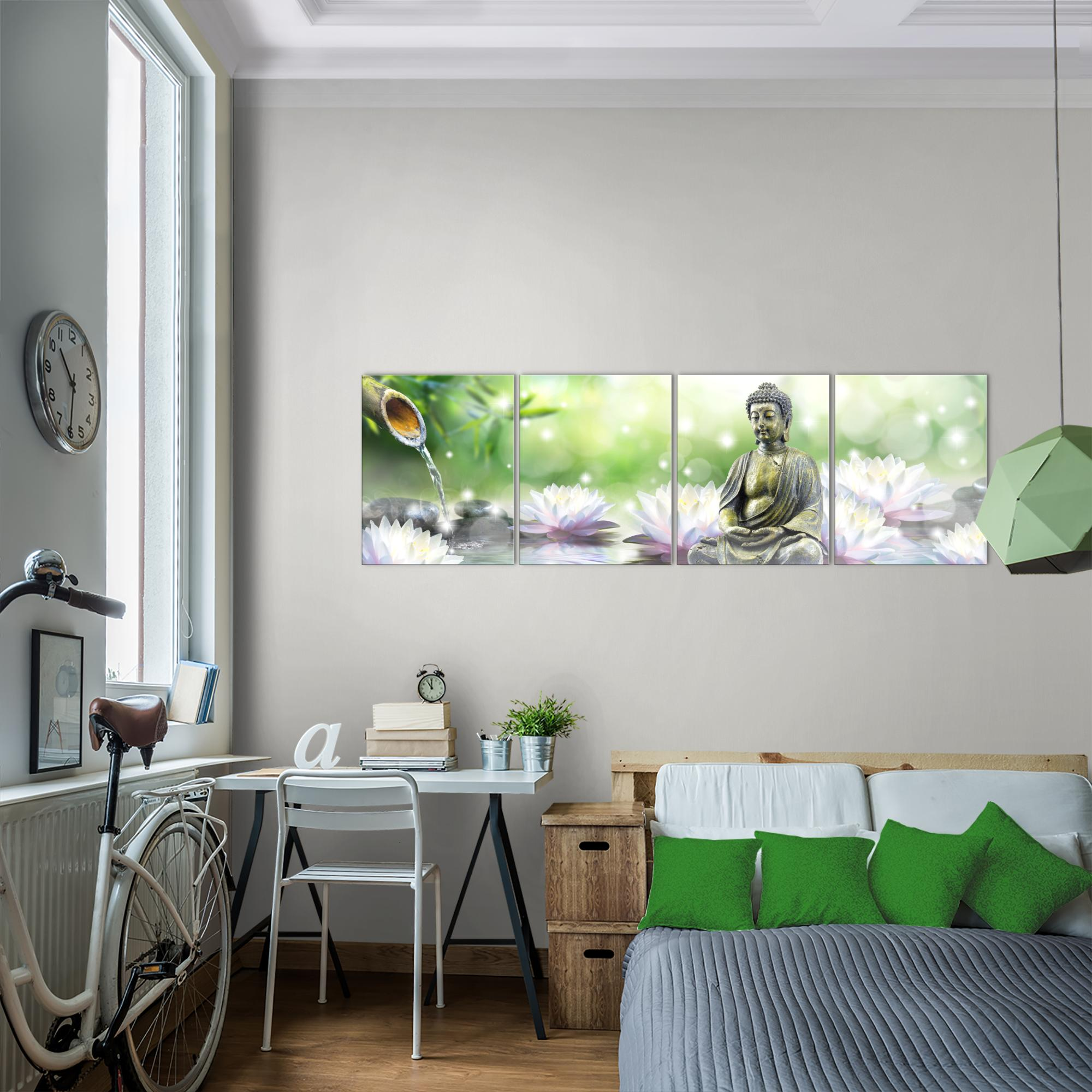 feng shui buddha bild kunstdruck auf vlies leinwand xxl dekoration 018246p. Black Bedroom Furniture Sets. Home Design Ideas