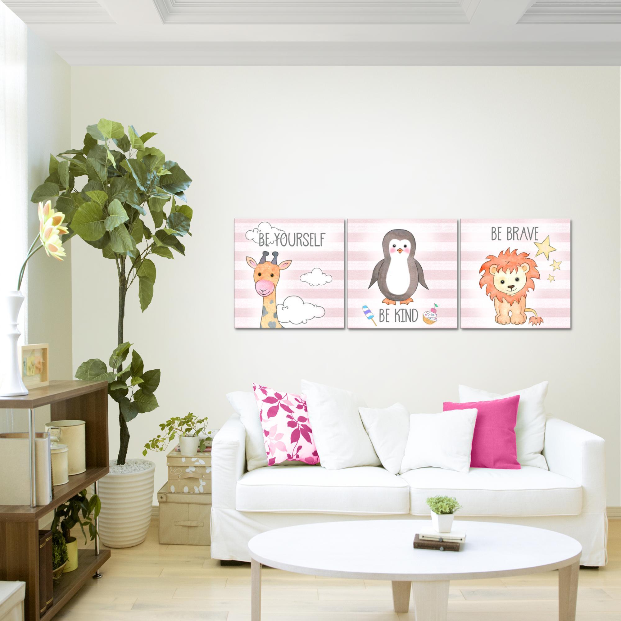 kinderzimmer tiere bild kunstdruck auf vlies leinwand xxl dekoration 018034p. Black Bedroom Furniture Sets. Home Design Ideas