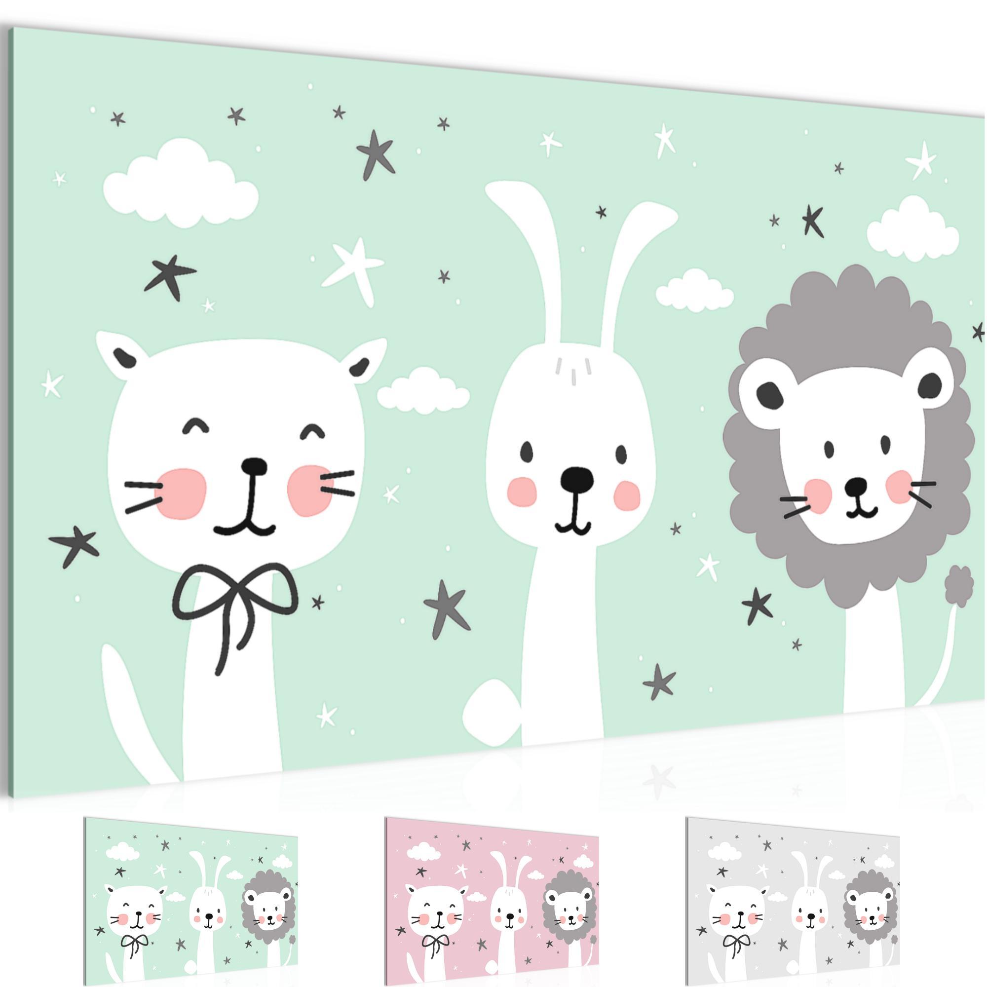 kinderzimmer tiere bild kunstdruck auf vlies leinwand xxl dekoration 019414p. Black Bedroom Furniture Sets. Home Design Ideas