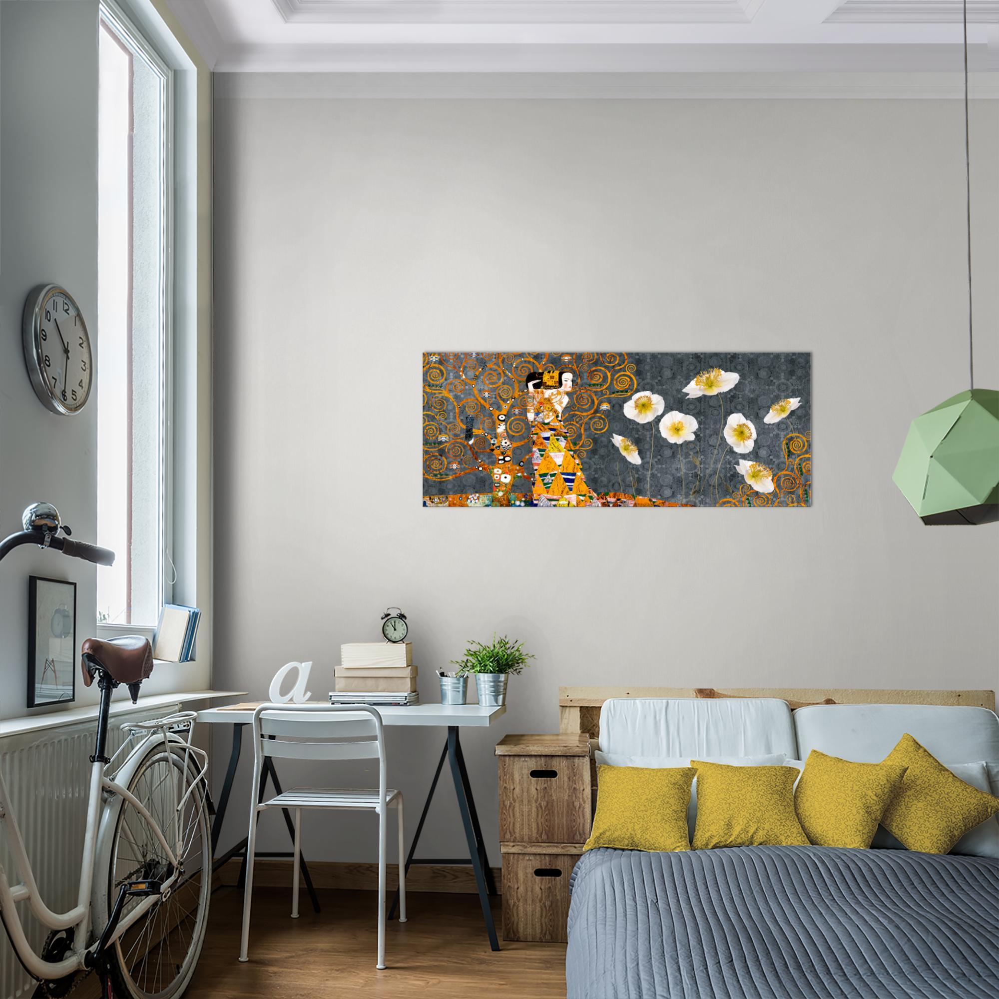 gustav klimt bild kunstdruck auf vlies leinwand xxl dekoration 021412p. Black Bedroom Furniture Sets. Home Design Ideas