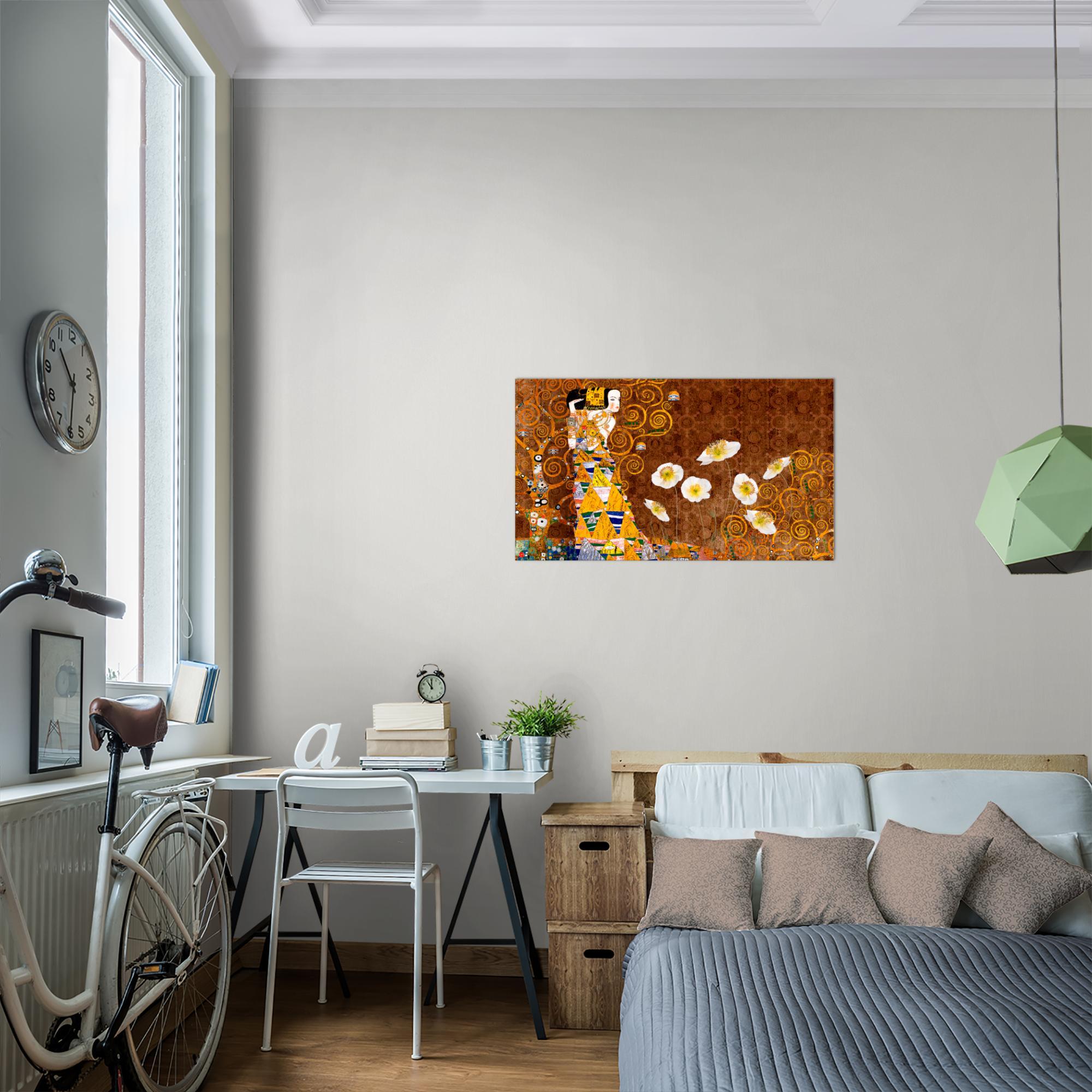 gustav klimt bild kunstdruck auf vlies leinwand xxl dekoration 021414p. Black Bedroom Furniture Sets. Home Design Ideas