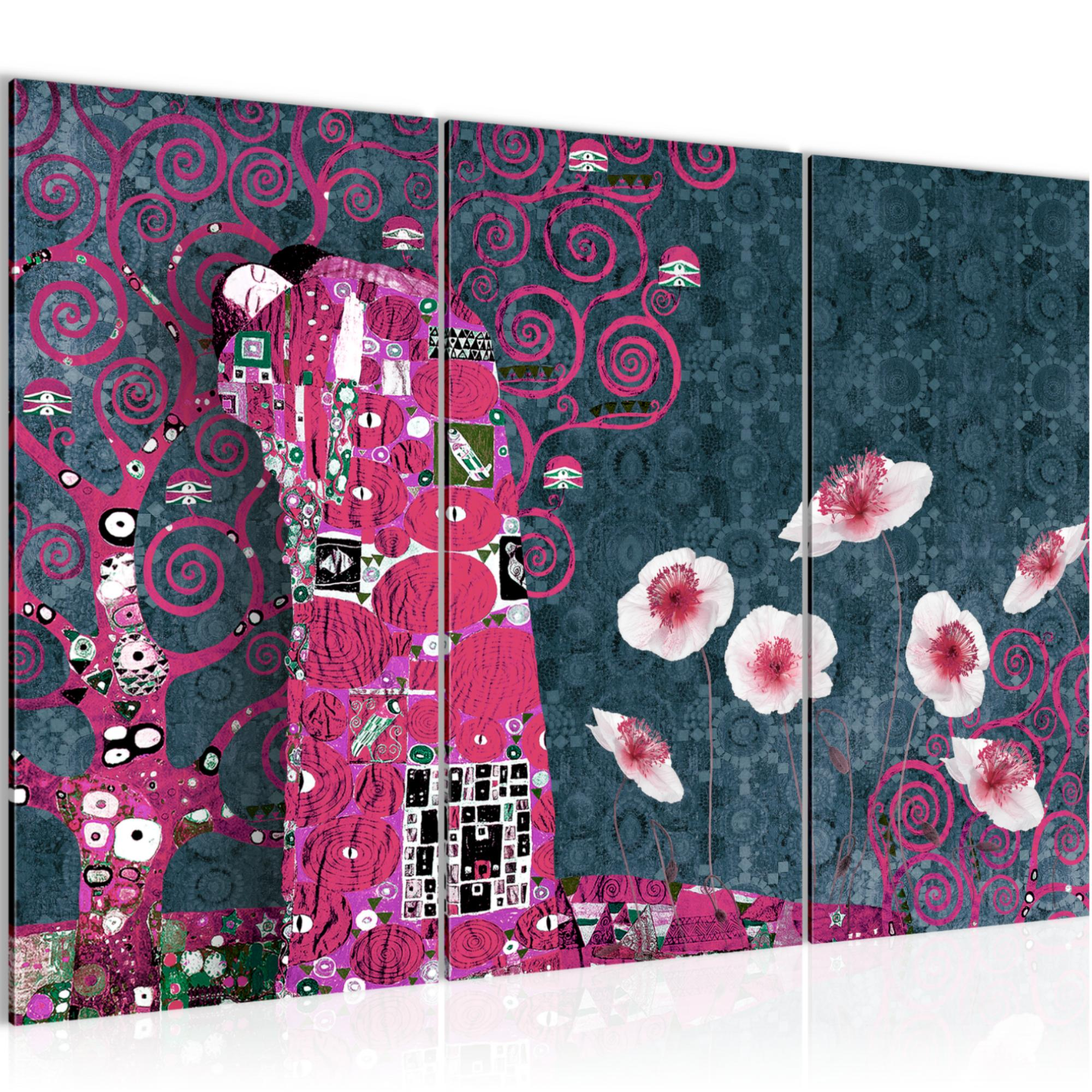 gustav klimt der kuss bild kunstdruck auf vlies leinwand xxl dekoration 021531p. Black Bedroom Furniture Sets. Home Design Ideas
