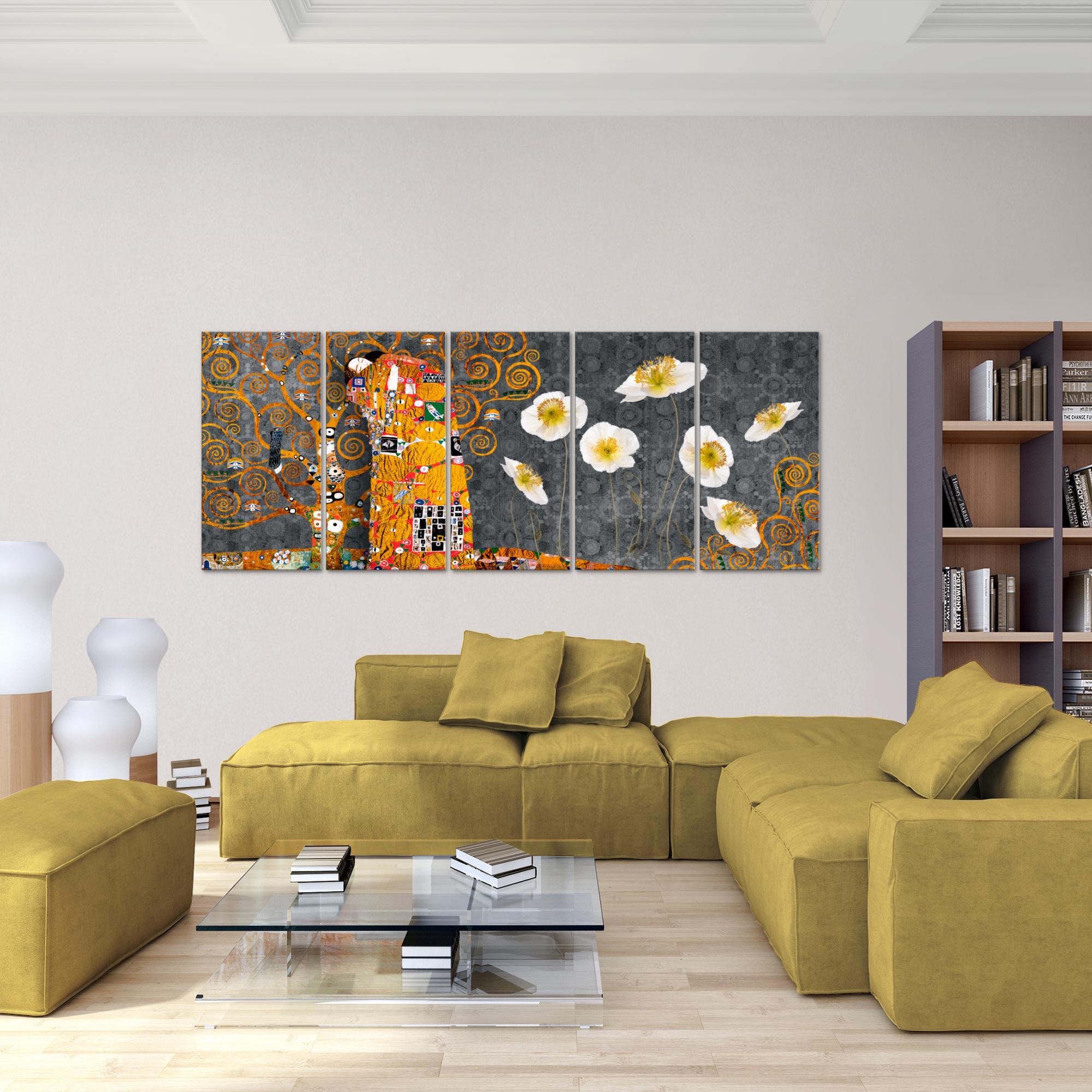 gustav klimt der kuss bild kunstdruck auf vlies leinwand xxl dekoration 021555p. Black Bedroom Furniture Sets. Home Design Ideas