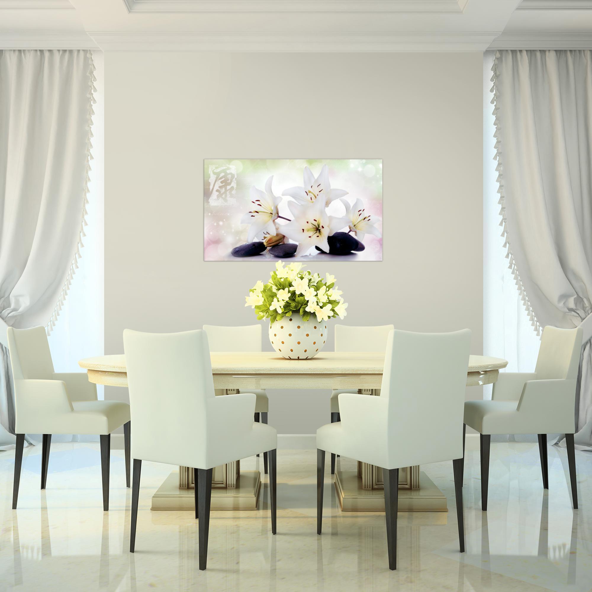 blumen lilien bild kunstdruck auf vlies leinwand xxl dekoration 022114p. Black Bedroom Furniture Sets. Home Design Ideas