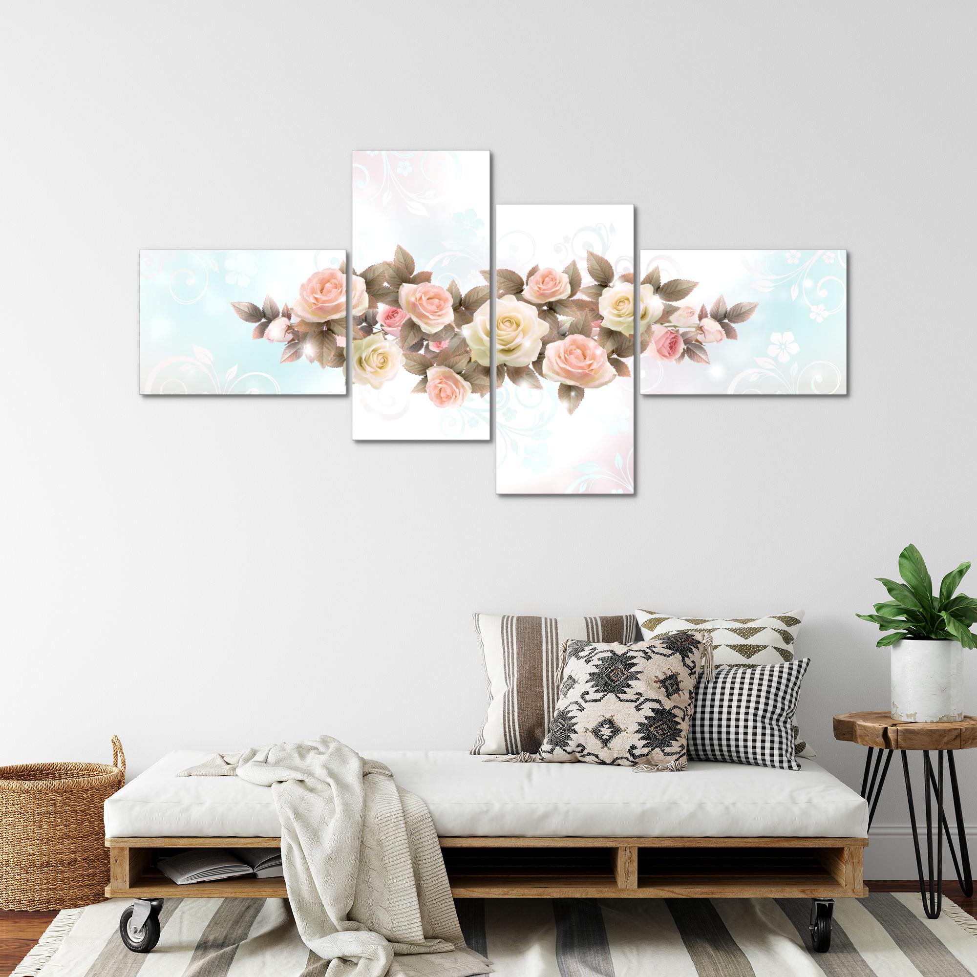 blumen rosen bild kunstdruck auf vlies leinwand xxl dekoration 02234p. Black Bedroom Furniture Sets. Home Design Ideas