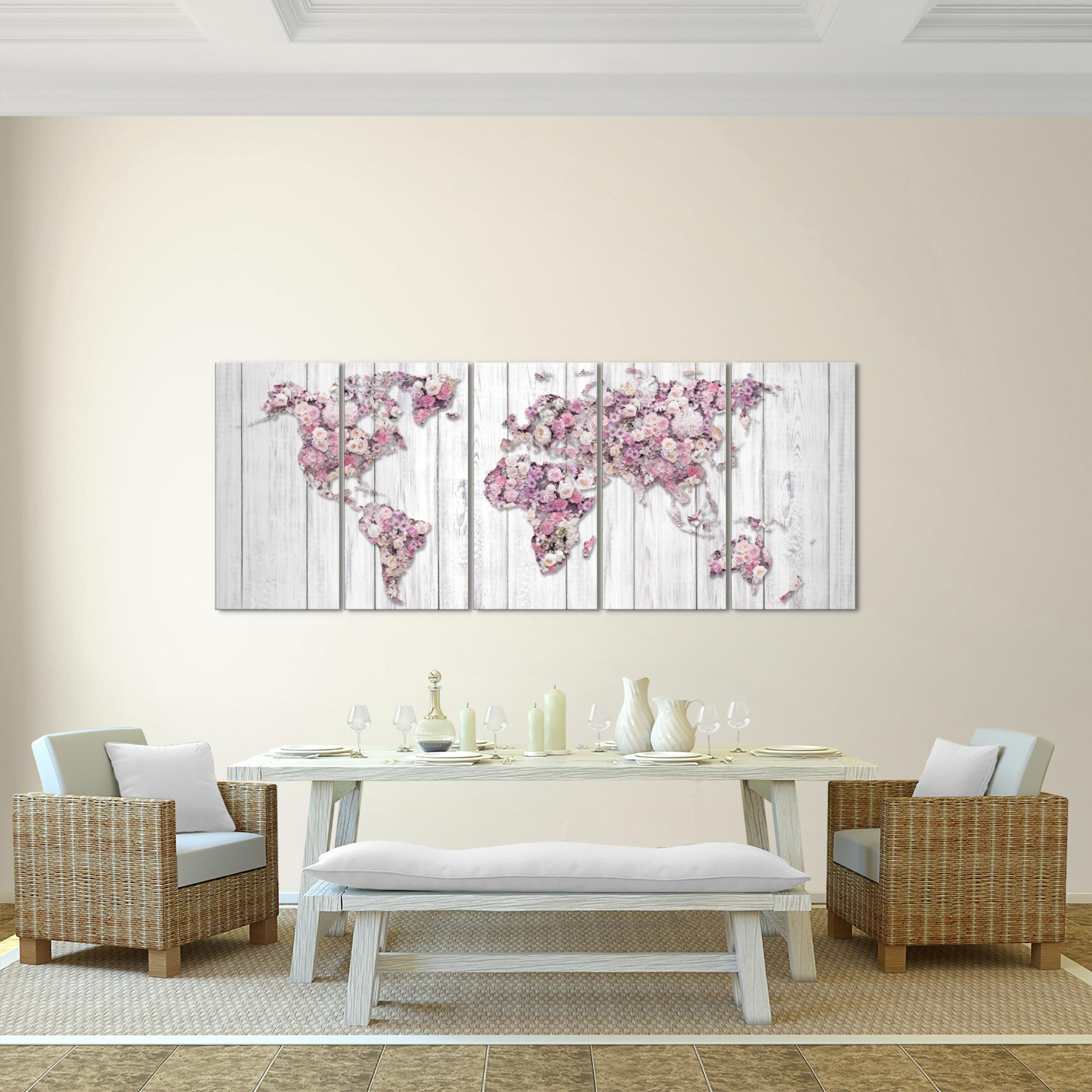 weltkarte blumen bild kunstdruck auf vlies leinwand xxl dekoration 023255p. Black Bedroom Furniture Sets. Home Design Ideas