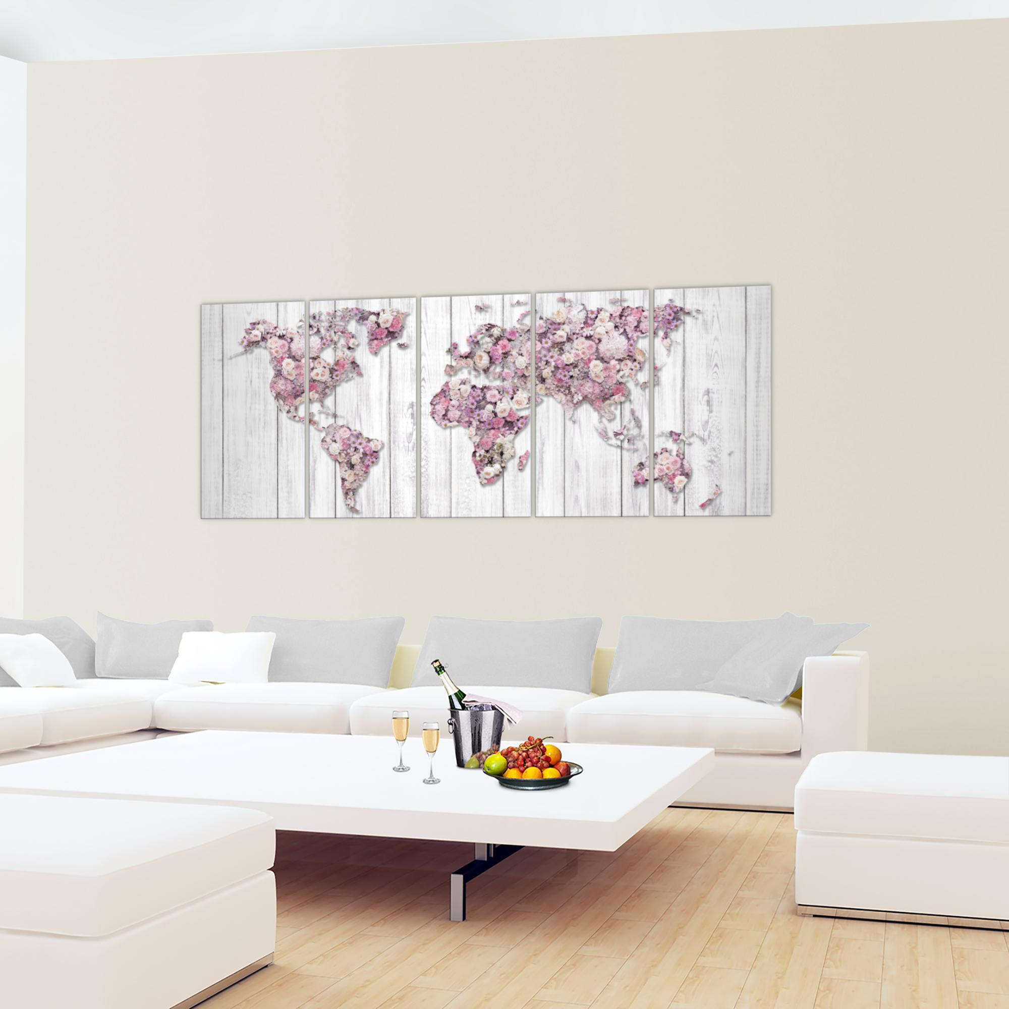 weltkarte blumen bild kunstdruck auf vlies leinwand xxl dekoration 023255p. Black Bedroom Furniture Sets. Home Design Ideas