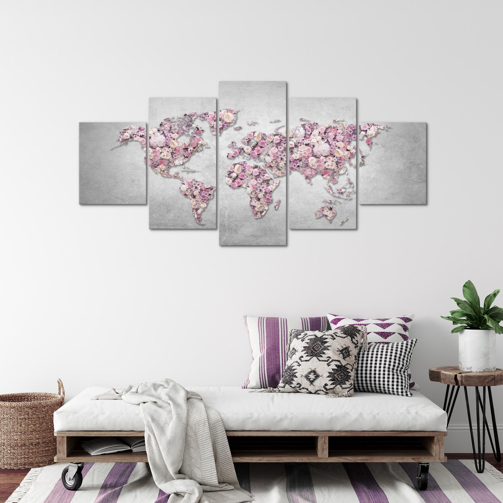 weltkarte blumen bild kunstdruck auf vlies leinwand xxl dekoration 02325p. Black Bedroom Furniture Sets. Home Design Ideas