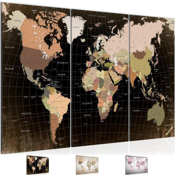 Weltkarte BILD KUNSTDRUCK  - AUF VLIES LEINWAND - XXL DEKORATION  023331P