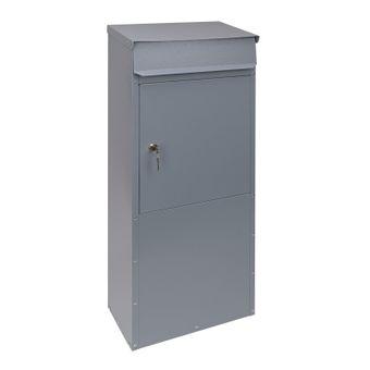 Stabiler Metall Standbriefkasten / Briefkasten freistehend silbergrau