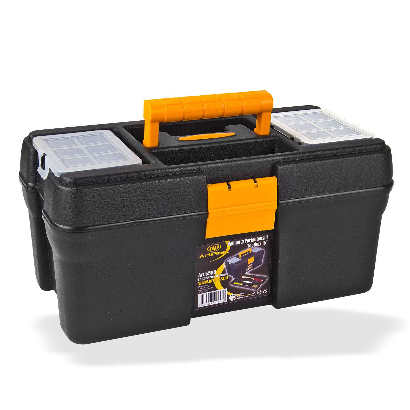 Dema Kunststoff Werkzeugkoffer / Werkzeugkiste mit Werkzeugträger 15045