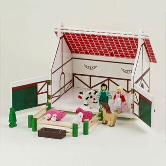 Kinder Farm Set Holzbauernhof Spielzeug – Bild $_i