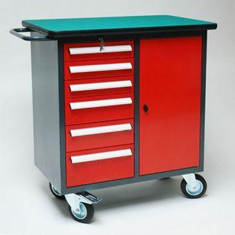 Mobile Werkbank rot/anthrazit 6 Schubladen Werkzeugwagen Werkstattwagen