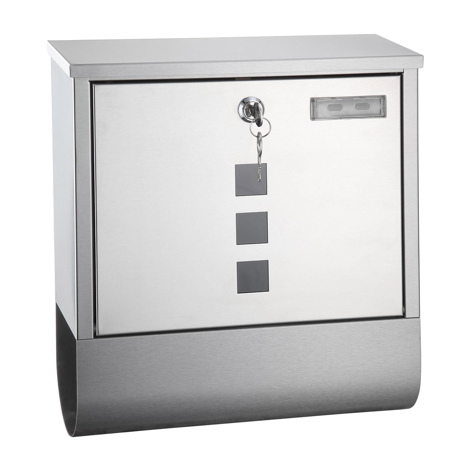 Metall Briefkasten OSLO Edelstahl Design mit Zeitungsrolle