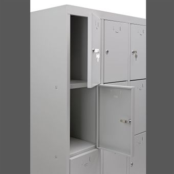 Schließfachschrank / Fächerschrank 12 Fächer Lichtgrau 88x50x180 – Bild $_i