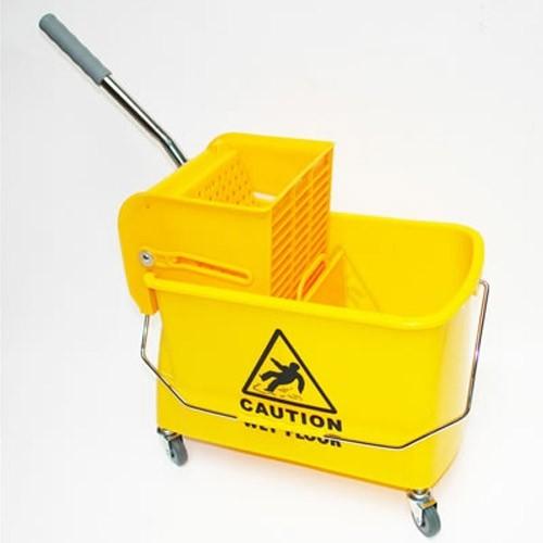 Dema Putzeimer Putzwagen 20 Liter mit Wischtuchpresse fahrbar 21235