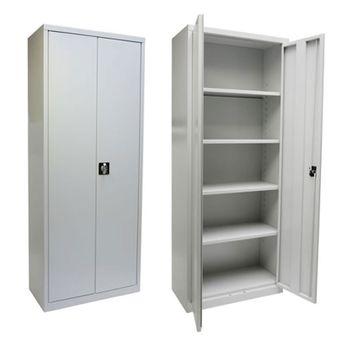 Metall Aktenschrank / Büroschrank 2-türig, 77,5x33,5x184 cm, RAL 7035 Lichtgrau