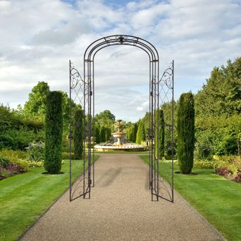 Rosenbogen / Rosenspalier mit Tor Metall Antik-Look Gartendeko – Bild $_i