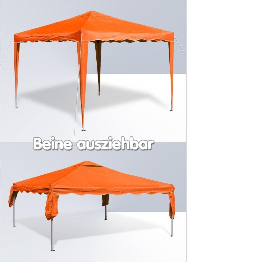 Dema Pavillon Gartenpavillon Faltpavillon Alu/Metall 3x3m orange Garten Partyzelt 14216